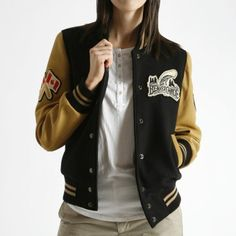 Beaver Canoe Jacket, As a teen, I dreamed of having a letter jacket from a dude. I think I like this chick's better. On my Christmas list, for those who care,. Beaver Canoe, Shirt Outfit, Jackets For Women, Sweatpants, Roots, Hoodies, My Style, How To Wear, Shirts
