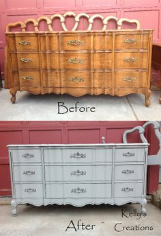French Provincial serpentine dresser painted gray with silver antiqued hardware before and after pictures.  Refinished by Kelly's Creations. https://www.facebook.com/pages/Kellys-Creations-Refinished-Furniture/524028237619793