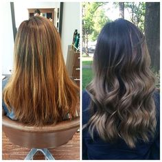 Before and after! Brassy->Ashy The after color is an ash blonde/grey balayage done by the very talented Min at @harusalons! My hair was super difficult to work with and Min worked very hard and went above and beyond to get my hair where we wanted it to be. I am super happy with the outcome! *\(^o^)/*