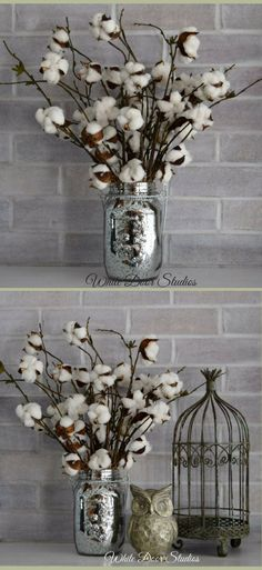Love look of the mercury glass mason jar! Rustic cotton boll stems in an elegant mecury glass mason jar add a touch of farmhouse chic and plenty of southern charm to your home's decor. Farmhouse decor, Rustic decor, Cotton Boll decor, Rustic farmhouse mason jar #ad