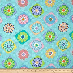 Moda Grow Flower Tiles Truly Turquoise Fabric
