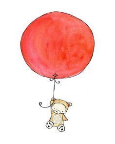 Nursery Art -- Bear Balloon -- Art Print (Maybe with Orange balloon)