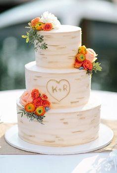 Three Tiered Tree-Inspired Wedding Cake. A tree-inspired wedding cake, perfect for summer or fall nuptials.