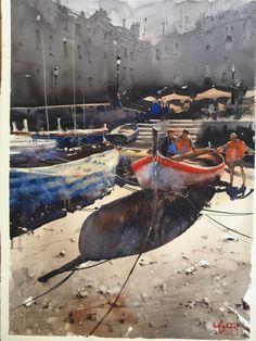 Original Artwork by Alvaro Castagenet Watercolor Images, Watercolor Artists, Watercolor Landscape, Artist Painting, Watercolor Illustration, Watercolour Painting, Painting & Drawing, Watercolours, Urban Landscape