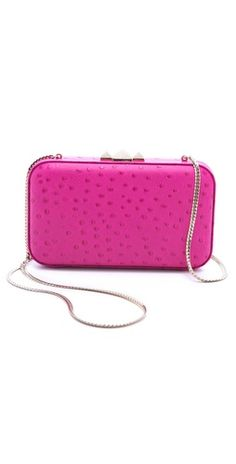 Rebecca Minkoff Ostrich Minaudiere. Love the hot pink!