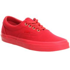 Vans Era ($78) ❤ liked on Polyvore featuring shoes, vans, red crimson mono, trainers, unisex sports, sports shoes, crimson shoes, unisex shoes, red skate shoes and lace up shoes