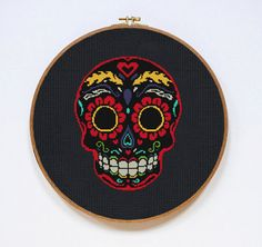 Sugar Skull Day of the Dead cross stitch pattern