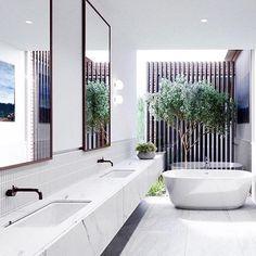 Tree for courtyard Laundry In Bathroom, Bathroom Renos, Bathroom Goals, Downstairs Bathroom, Design Bathroom, Interior Design Awards, Interior Styling, Malvern House, Beautiful Bathrooms
