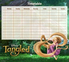 Locked in a tower for 18 years because she had magic hair, Rapunzel desired to see the strange lights in the sky. When fate sends a thief to her window, she creates a plan for him to be her guide s… Printable Stickers, Free Printables, Timetable Planner, Disney Tangled, Disney Princess, Magic Hair, Little Learners, Rapunzel, Planners