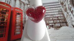 bague coeur transparente micro billes rouge. : Bague par la-fimo-de-vanessa