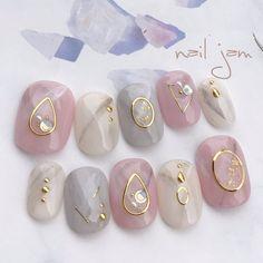 types of nail shapes Fingers - The most beautiful nail designs Asian Nail Art, Asian Nails, Korean Nail Art, Orange Nail Designs, Gel Nail Art Designs, Elegant Nail Designs, New Nail Art, Cute Nail Art, Nail Swag
