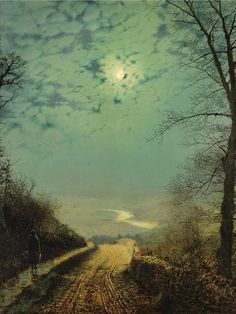 A Wet Road By Moonlight. Wharfedale Art Print by John Atkinson Grimshaw.  All prints are professionally printed, packaged, and shipped within 3 - 4 business days. Choose from multiple sizes and hundreds of frame and mat options.
