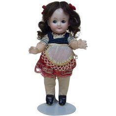"""Early 1900's German Heubach 7.5"""" Googly Cute Brunette Doll from funcity on Ruby Lane"""