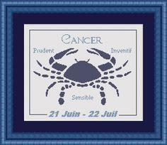 Fiche/ grille au point de croix : Broderie Signe astrologique CANCER