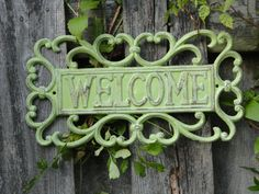Cast Iron Mint Green Welcome Sign in a by DesigningEdgeDW on Etsy, $27.00