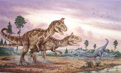 """Cryolophosaurus"" © Phil Wilson - watercolor using airbrush"