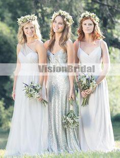 e3eccc6ef7c Simple Mismatched Pleating A-Line Long Bridesmaid Dresses