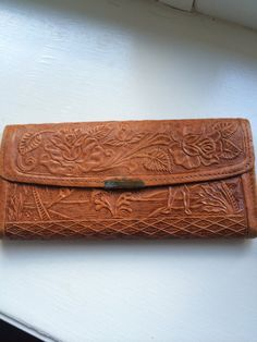 Vintage  Hand Tooled Leather Large Wallet from by ItsallforHim