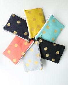Clutch Bag with Gold Dots Metallic Gold Zipper