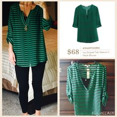 Stitch Fix 41 Hawthorn Ivy Striped Tab-Sleeve blouse. I love this and wore it the very next day! It's a separate black cami under the blouse. Great tunic length for over leggings.