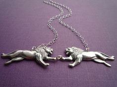 the lion twins necklace in silver by cravejewelrydesign on Etsy, $28.00