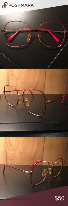 VINTAGE Red and Gold Metal Glasses Frames These frames are so fun and unique! They're in great vintage condition and you can have prescription lenses cut to fit them! Vintage Accessories Glasses