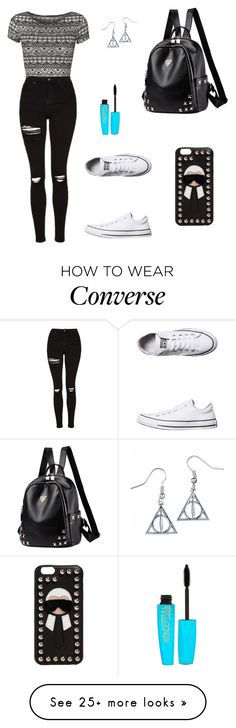 """""""Untitled #1280"""" by mariafilomena471 on Polyvore featuring Topshop, Converse, Fendi and Rimmel"""