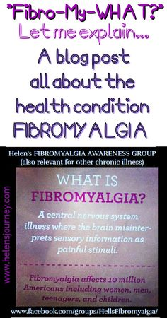 """Fibro-my-what?"" Let me explain… All about the health condition FIBROMYALGIA! The of May is 'Fibromyalgia Awareness Day' – So what better way to become aw… Chronic Fatigue Syndrome Diet, Chronic Fatigue Symptoms, Chronic Illness, Chronic Pain, Chronic Tiredness, Fibromyalgia Syndrome, Thyroid Symptoms, Hypothyroidism, Fibromyalgia Awareness Day"