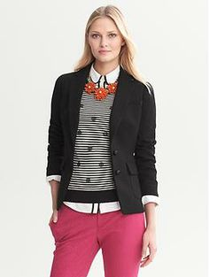 Black Hacking Jacket | Banana Republic MINUS the orange for me, I would do cobalt