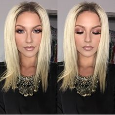 Occasion - Date Night - Romantic rose gold eye and nude lip creates a subtle pretty look for a date. The light blush and highlight keeps the look simple and directs all attention to the gold eyes.