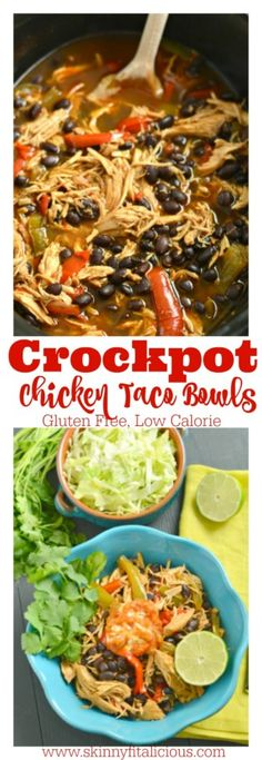 Make taco night easy night with these Crockpot Chicken Taco Bowls! Made naturally gluten free with homemade low sodium taco seasoning and layered with fresh vegetables, this low calorie dinner is one everyone will love especially the cook!