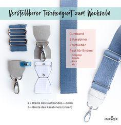 Taschengurt als modisches Accessoire - Anleitung, wie du einen einfachen oder verstellbaren Taschengurt mit Karabinern selber nähen kannst.
