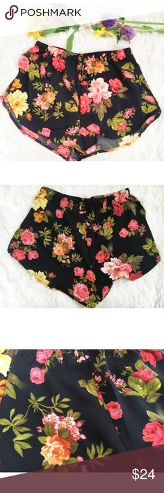 "Black Floral Lightweight summer/ workout shorts A perfect pair of lightweight shorts for the summer. Black with a sweet rose flower pattern. Made of 100% polyester. Waist measures 24"" with 4.5"" of stretching. Length  11"" These also come is Medium and Large. fits S(2-4) M(6-8) L(10-12)  #ootd #instafashion #fashionblogger #fashionista #streetstyle #stylish #instastyle #lookbook #boutique #trend #designer Naturally Spiritual Boutique Shorts"
