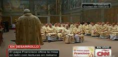 """El papa Francisco celebró su primera misa como pontífice en la Capilla Sixtina ante los 114 cardenales que lo eligieron, con un llamado a no olvidar que la principal misión de la Iglesia católica es proclamar el mensaje de Jesucristo, para que no se convierta en """"una organización no gubernamental piadosa"""". http://cnnespanol.cnn.com/2013/03/14/francisco-celebra-su-primer-dia-como-papa-con-una-misa/"""