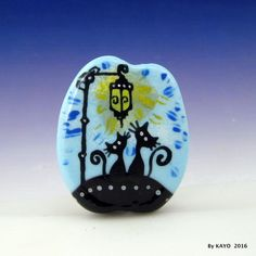 """FRIENDS TIL THE END"" byKAYO a Handmade SWEET CAT Lampwork Glass Focal Bead"