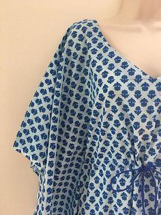 3ffc33a9c5 Pale Blue Natural Indigo hand block printed kaftan