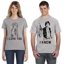 Star Wars Disney Couple Shirts! Han Solo Princess Leia - I love you / I know - Disney Family Shirts -
