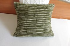 Knitted pillow cover olive hand knit cushion by Adorablewares, $35.00
