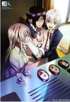 K project, shiro x kuroh, look at this picture and try and tell me theyre not canon i mean hes feeding him and just ugh ♡