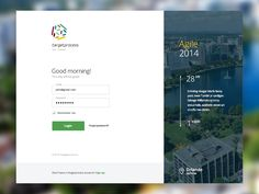 """Lovely login page / dashboard design. I love the little """"This day will be great!"""" message!"""