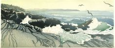 Pemaquid from Little Thrumcap, color woodblock print by Matt Brown.