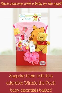 Winnie the Pooh Baby Girl - $47 Let Winnie the Pooh welcome the new little Honey into their lives with this adorable box of baby girl delights. Featuring a soft and cuddly Winnie the Pooh Beanie, who is ready to be hugged, this sweet box overflows with a pink Winnie the Pooh terry baby bib, Winnie the Pooh baby bottle, a Winnie the Pooh cotton hat, BPA free Winnie the Pooh pacifier and soothing baby powder. Everything needed to make Baby's first days warm and cozy and to show how much you…