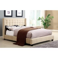 Furniture of America Mazi Modern Nailhead Trim Platform Bed