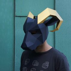 These plans enable you turn simplerecycled card into a 3D Low Polygon RamMask. Just print the templates on paper, stick them to card, cut them out, match the