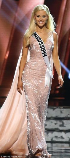 Evening attire: Maaliyah Papillion, 21, of Louisiana wore a stunning black halter gown featuring a see-through bottom, while Haley Sowers, 22, of Mississippi looked pretty in pink sequins