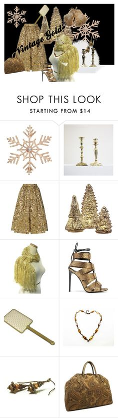 """Christmas Vintage Gold"" by rusticrevivals on Polyvore featuring John Lewis, Prada, Order Home Collection, Tom Ford and vintage"