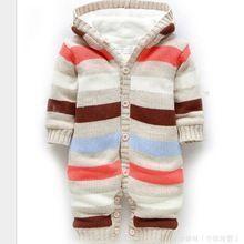 Knitted Winter Newborn Christmas Striped Snowsuits Romper Infant Jumpsuit #newbornboysnowsuit #newbornsnowsuit