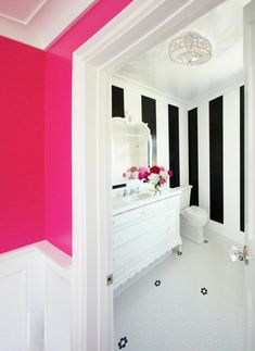 Very girly, but I love it :) (Bathrooms - Benjamin Moore - Hot Lips - hot pink walls penny tiles floor white black vertical striped walls white vintage bathroom vanity marble countertop white mirror) girls bathroom Home Design, Design Ideas, Bath Design, Design Design, Vanity Design, Eclectic Bathroom, Bathroom Pink, Bathroom Ideas, Bathroom Organization