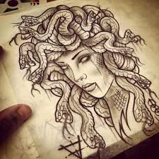 Resultado de imagen para la gorgona medusa tattoo  //  A colorless depiction of Medusa shows both her ugly head of snakes and the beauty in her face.  Her blank eyes show her potential to turn those she sees to stone.