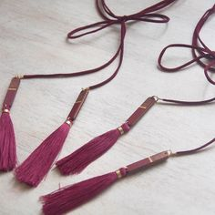 These burgundy tassels have my heart! I also just got some navy and white faux suede cord! Eeep! All the tassel making!!